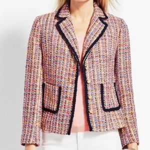 Talbots | tweed contrast gold button jacket